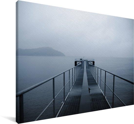Stalen steiger over de zee in Naoshima Canvas 180x120 cm - Foto print op Canvas schilderij (Wanddecoratie woonkamer / slaapkamer) XXL / Groot formaat!