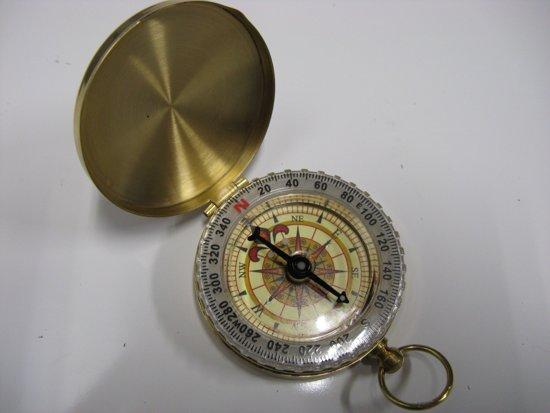 Kompas messing met fluorescerende buitenring