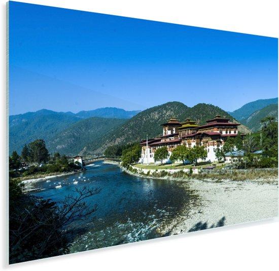 Het Bhutaanse klooster Punakha Dzong met bergen op de achtergrond Plexiglas 90x60 cm - Foto print op Glas (Plexiglas wanddecoratie)