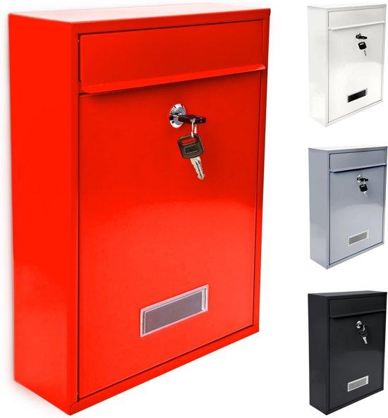 relaxdays stijlvolle brievenbus afsluitbare klapdeur  met naambordje