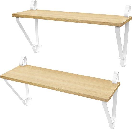 Planken Voor Aan De Wand.Bol Com Plant More Wand Plank Licht Bruin Planken Witte Metalen
