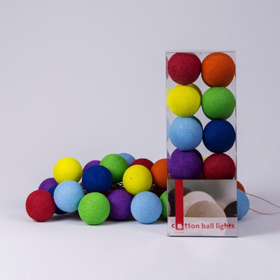 Cotton Ball Lights Lichtslinger Rainbow – 20 Cotton Balls – Regenboog kleurig
