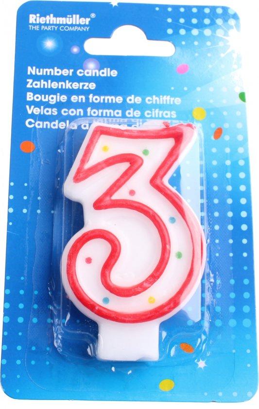 Amscan Verjaardagskaarsje Cijfer 3 Rood