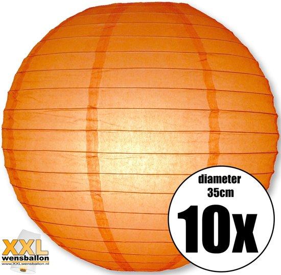 10 oranje lampionnen met een diameter van 35cm