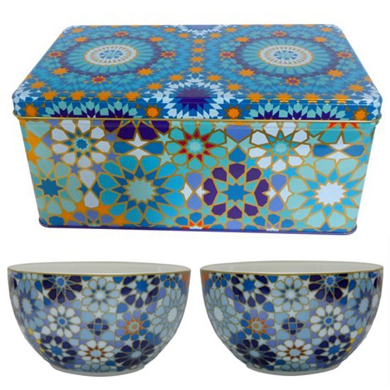 Images d'Orient Mouchabarieh Blue set van 2 kommen Ø 12 cm in fraai geschenkblik