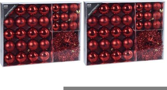 64x Rode kunststof kerstballen 4-5-8 cm/folieslinger  - Mat/glans/glitter - Onbreekbare kerstballen - Kerstboomversiering rood
