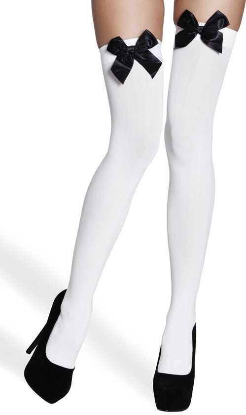 Sexy Witte Stay-up Stockings met Zwarte Strik