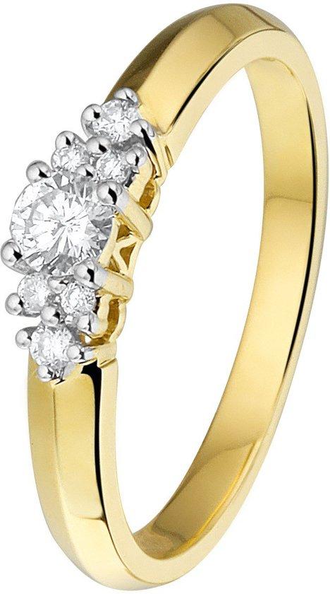 Lucardi 14 Karaat Geelgouden Ring - Met Diamant - Maat 57