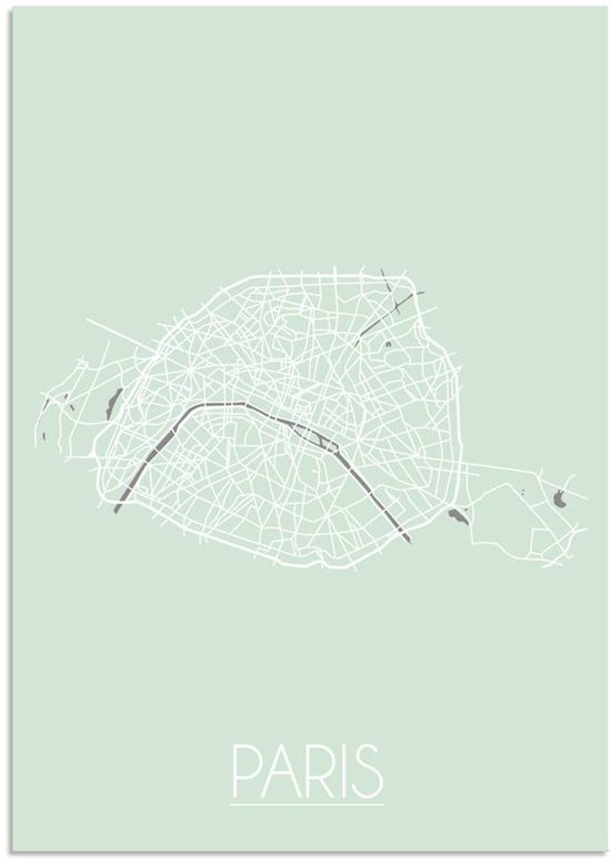 Plattegrond Parijs Stadskaart poster DesignClaud - Pastel groen - A4 + Fotolijst wit