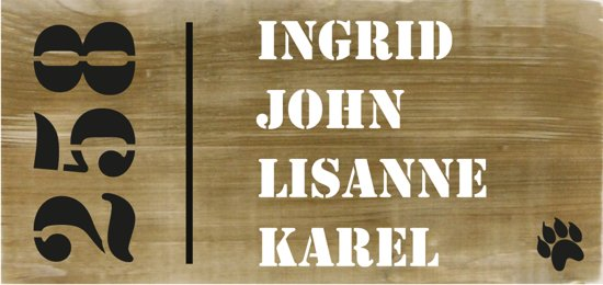 Iets Nieuws bol.com | Naambordje voordeur steigerhout | houten naambord 40x20 cm &IR75