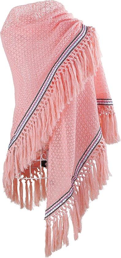Bekend bol.com   Gehaakte omslagdoek Formentera roze Driehoek sjaal @LL64