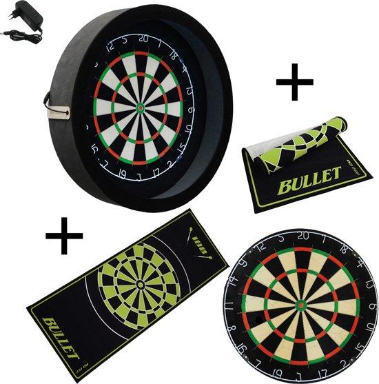 Dragon - Sorpresa PRO - Complete PRO - zwart-bullet groen - plain dartbord - dartmat bullet - dartbord verlichting