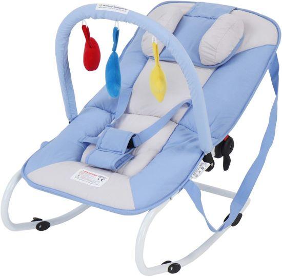 Wipstoeltje, lichtblauw, wipper, kinderstoeltje, babyschommelstoeltje