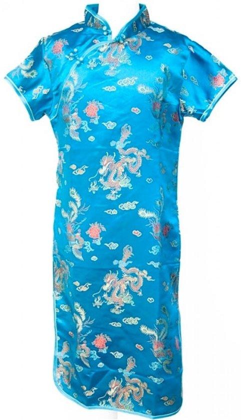 Chinese jurk - Blauw - Maat 116/122 (8) - Verkleed jurk - Prinsessen jurk