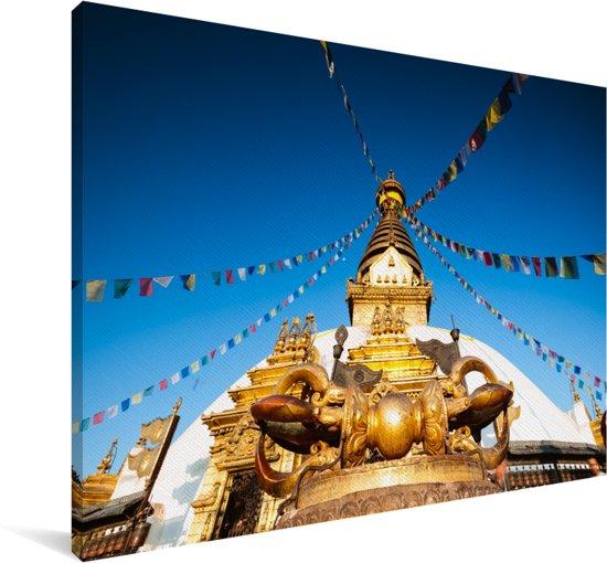 De Aziatische Swayambhunath tempel in Nepal Canvas 140x90 cm - Foto print op Canvas schilderij (Wanddecoratie woonkamer / slaapkamer)
