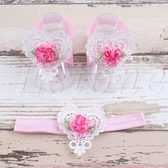 Baby Haarbandje + Voetbandjes Hart - Roze