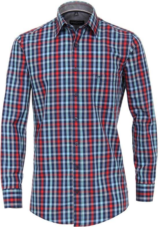 Casa Moda Sport Overhemd Rood En Blauw Geruit Kent Comfort Fit - 6XL