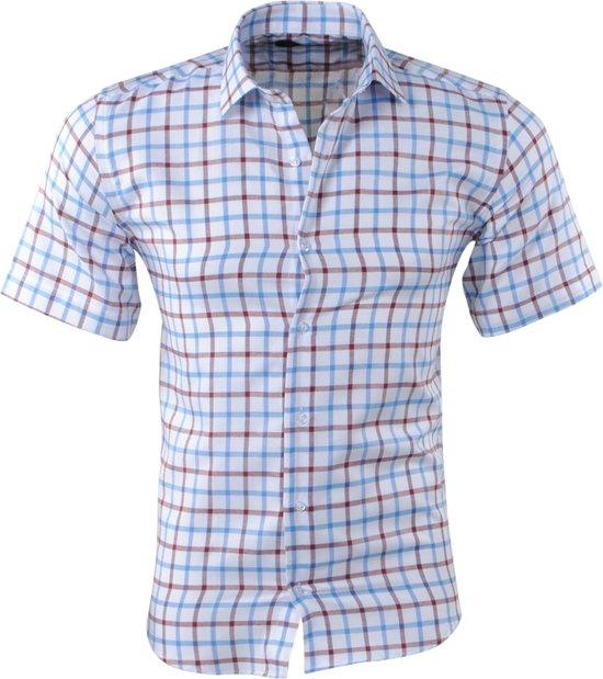 Korte Mouw Overhemd Mannen.Bol Com Pradz Heren Korte Mouw Overhemd Geblokt Slim Fit Wit