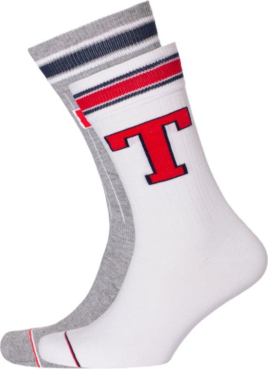 Tommy Hilfiger Patch Sock (2 pack) witte en grijze sokken Maat 43 46