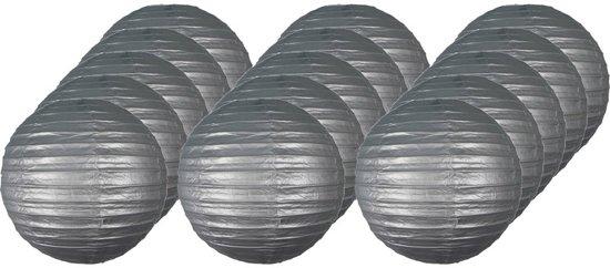 15x Luxe bol lampionnen zilver 25 cm - Feestversiering/decoratie