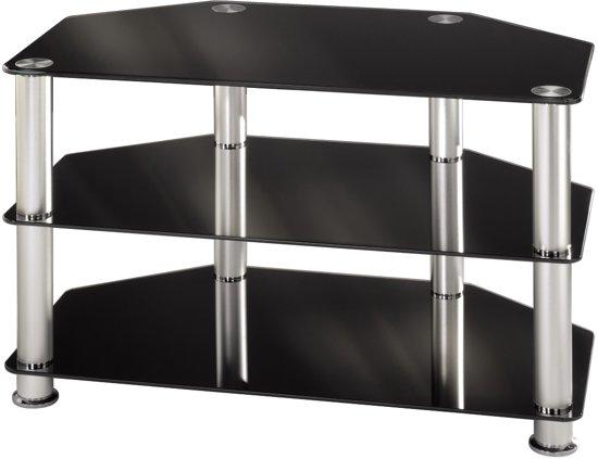 Hama tv meubel zwart glas for Tv meubel glas