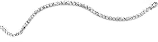 Silventi 910481914 Zilveren tennisarmband - ronde zirkonia Ø 4 mm - lengte 17 + 3 cm - zilverkleurig
