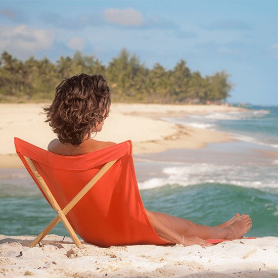 Pro Beach Strandstoel.Strandstoel Opvouwbaar Canvas Grenen Beach Chair Beach Lounger Oranje