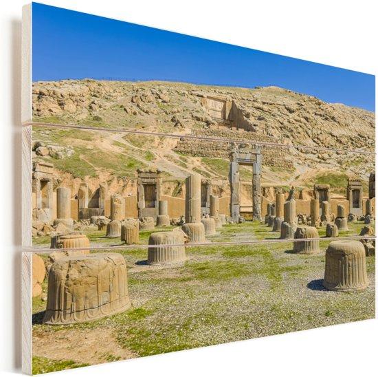 Zicht op de overblijfselen van het Iraanse Persepolis in het Midden-Oosten Vurenhout met planken 120x80 cm - Foto print op Hout (Wanddecoratie)