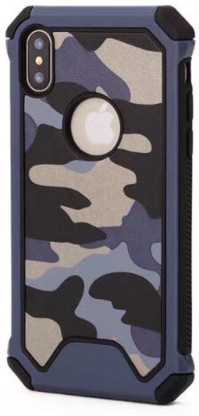 P.C.K. Army/Leger/Camouflage Backcover/Achterkant blauw geschikt voor Apple iPhone 8 MET GLASFOLIE