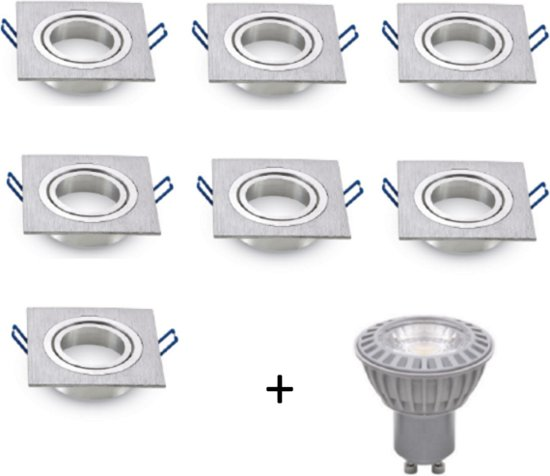LED inbouwspot - GU10  dimbaar   Zilver (set van 8 stuks)