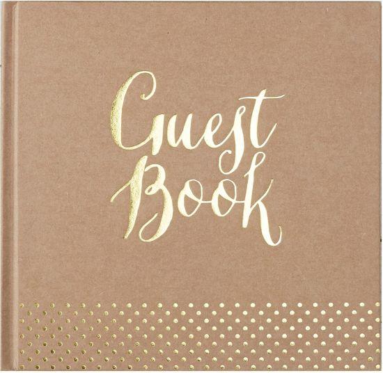Gastenboek Kraft goud Ginger Ray Valentinaa