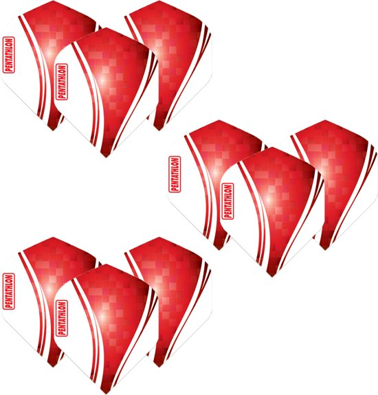 Pentathlon Wave - sterke flights - Rood  - Dragon darts - 3 Sets (9 stuks) - darts flights