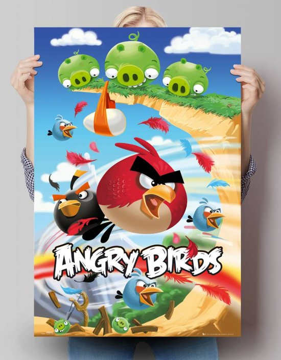 reinders poster angry birds attack poster 61 91 5 cm no 22271. Black Bedroom Furniture Sets. Home Design Ideas