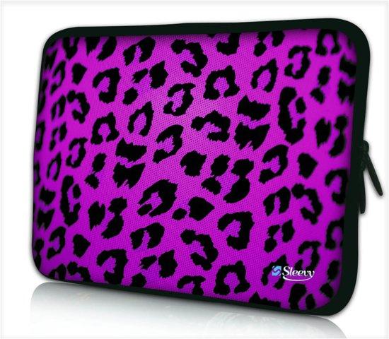 bol   laptophoes 14 inch panterprint paars - sleevy - laptop