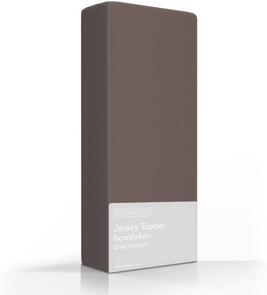 Comfortabele Jersey Topper Hoeslaken Taupe | 150x220 | Rondom Elastiek | Dikke Kwaliteit