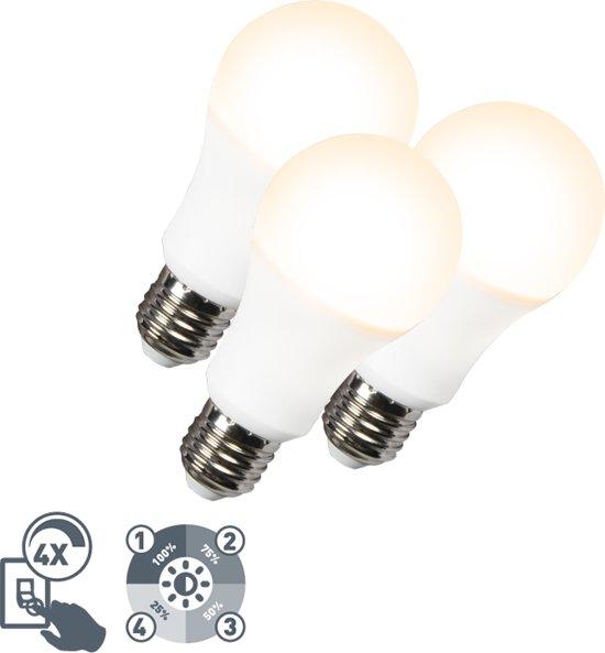 QAZQA Set van 3 LED lamp A60 12W E27 3000K 4-staps dimbaar