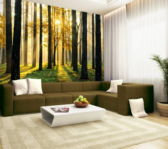 Fotobehang, Muurposter, Bos met zon 350 x 260 cm.