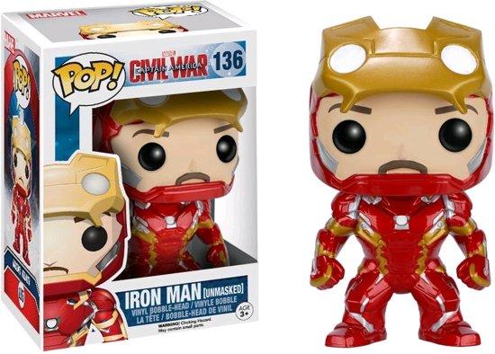 Funko Pop! Vinyl Figuur Nr.136 Iron Man Unmasked Civil War - Verzamelfiguur