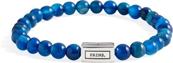 PRINS. Armband PB0005-P-L - Heren - Blauw Agaat (6mm) met Zilver- 21 cm
