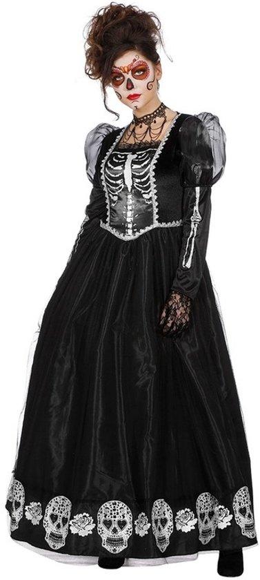 5dfafa5fe7fe5e Halloween - Zwarte gothic Day of the Dead halloween jurk voor dames 36 (S)