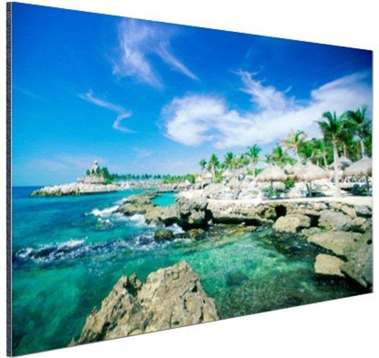Rotsformaties in de zee Mexico Aluminium 60x40 cm - Foto print op Aluminium (metaal wanddecoratie)