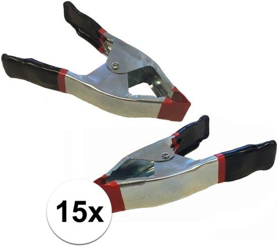 15x lijmklemmen / marktklemmen - 15 cm - veerklemmen / zeilklemmen