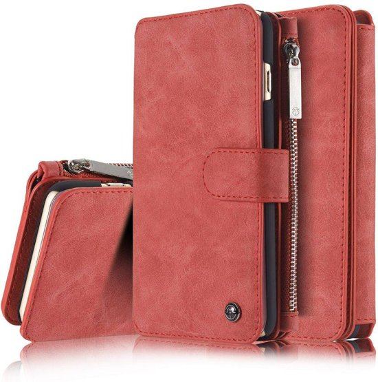 79a4ffa7fc0 14 vaks 2 in 1 rode wallet hoesje iPhone 6 en 6s echt Split leer