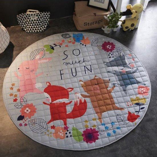 Speelkleed en speelgoed opbergzak in 1 - XL - Speelmat met trekkoord - Speelgoed opbergtas - Speelgoedmat - Opruimzak - 150 x 150 cm - Fox - So Much Fun