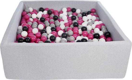 Zachte Jersey baby kinderen Ballenbak met 900 ballen, 120x120 cm - zwart, wit, roze, grijs