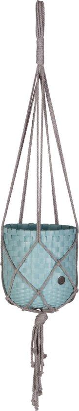 Handed By Dangle - Opbergmand - Plantenhanger - poederblauw met macramé hanger