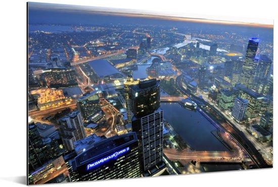 Schitterende luchtfoto van de miljoenenstad Melbourne in Australië Aluminium 120x80 cm - Foto print op Aluminium (metaal wanddecoratie)