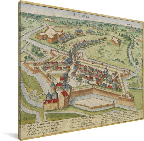 Een historische stadskaart van Eindhoven met diverse kleuren Canvas - Plattegrond 40x30 cm - klein - Foto print op Canvas schilderij (Wanddecoratie woonkamer / slaapkamer)