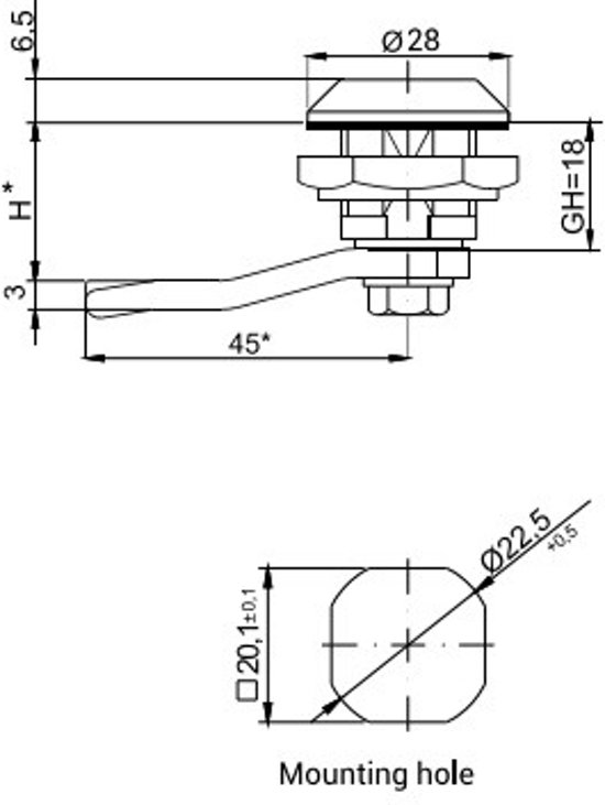 23mm Kantelslot voor T9 driehoeks sleutel