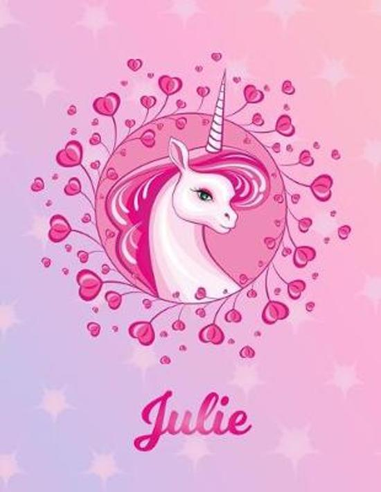 Julie: Unicorn Large Blank Primary Sketchbook Paper - Pink Purple Magical Horse Personalized Letter J Initial Custom First Na
